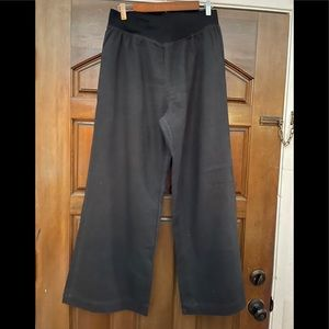 Black flare leg linen pants